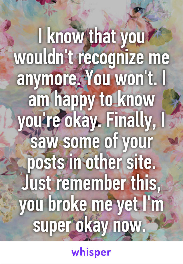 I know that you wouldn't recognize me anymore. You won't. I am happy to know you're okay. Finally, I saw some of your posts in other site. Just remember this, you broke me yet I'm super okay now.