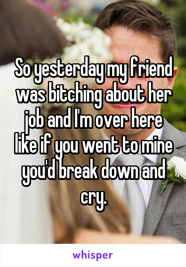 So yesterday my friend was bitching about her job and I'm over here like if you went to mine you'd break down and cry.