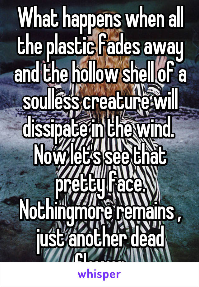 What happens when all the plastic fades away and the hollow shell of a soulless creature will dissipate in the wind.  Now let's see that pretty face. Nothingmore remains , just another dead flower