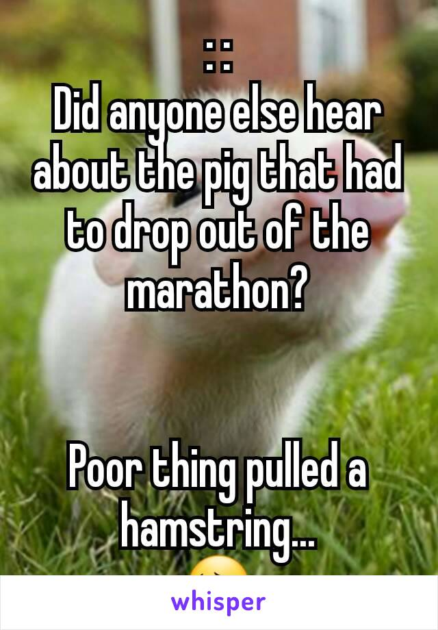 : : Did anyone else hear about the pig that had to drop out of the marathon?   Poor thing pulled a hamstring... 😔