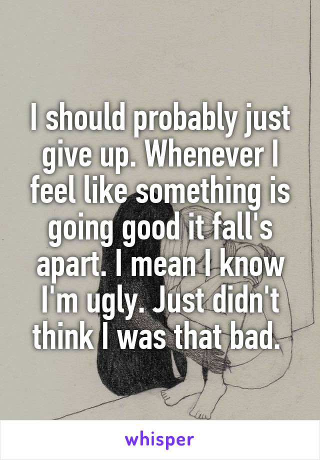 I should probably just give up. Whenever I feel like something is going good it fall's apart. I mean I know I'm ugly. Just didn't think I was that bad.