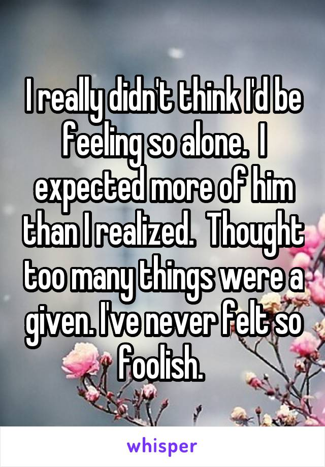 I really didn't think I'd be feeling so alone.  I expected more of him than I realized.  Thought too many things were a given. I've never felt so foolish.