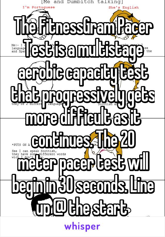 The FitnessGram Pacer Test is a multistage aerobic capacity test that progressively gets more difficult as it continues. The 20 meter pacer test will begin in 30 seconds. Line up @ the start