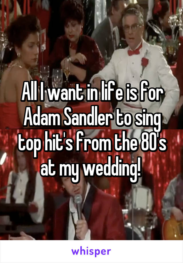 All I want in life is for Adam Sandler to sing top hit's from the 80's at my wedding!