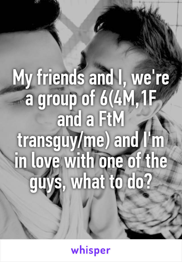 My friends and I, we're a group of 6(4M,1F and a FtM transguy/me) and I'm in love with one of the guys, what to do?