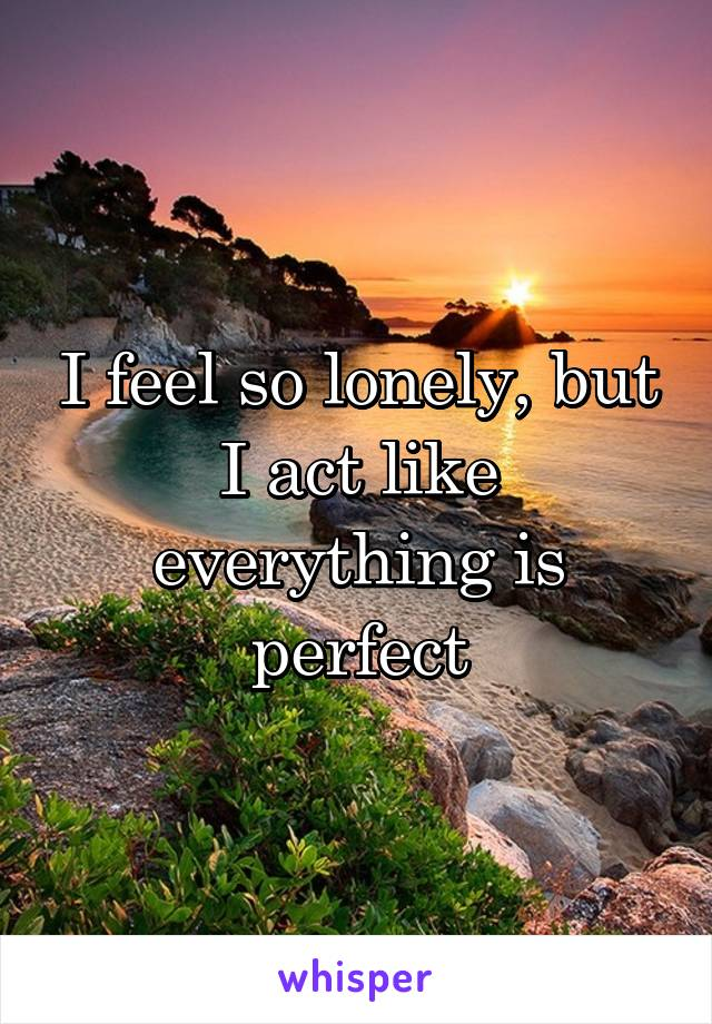 I feel so lonely, but I act like everything is perfect