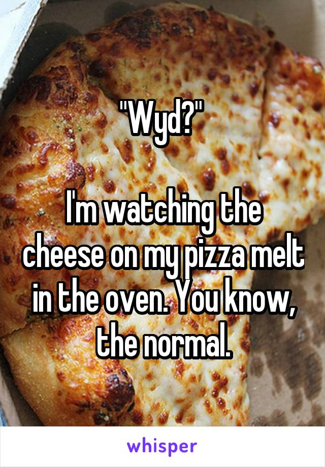 """Wyd?""   I'm watching the cheese on my pizza melt in the oven. You know, the normal."