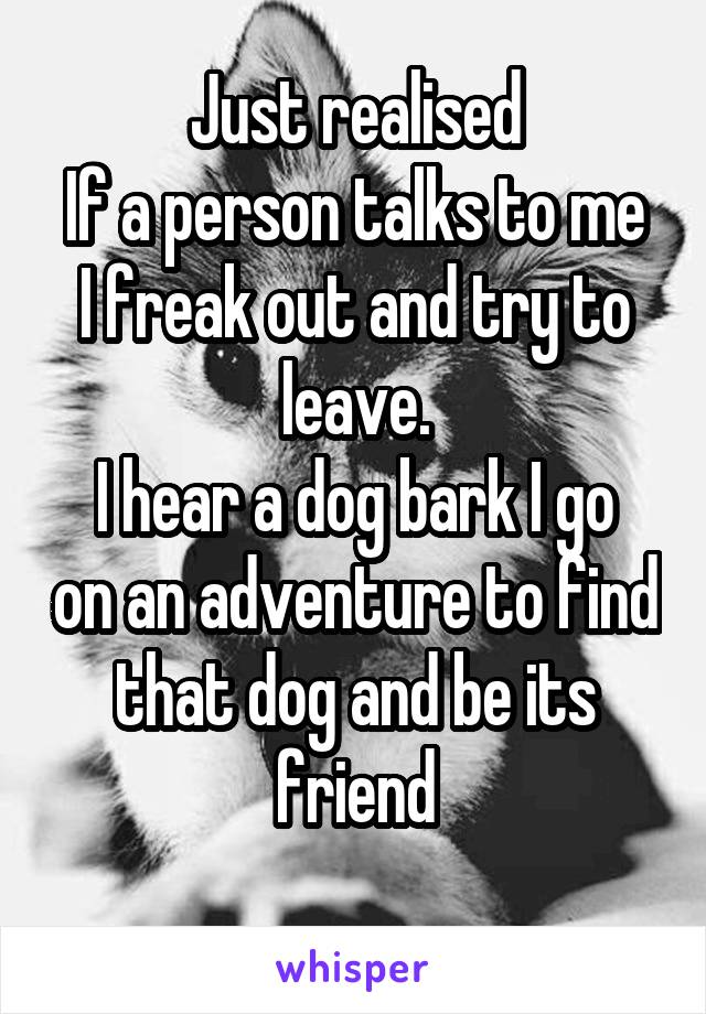 Just realised If a person talks to me I freak out and try to leave. I hear a dog bark I go on an adventure to find that dog and be its friend