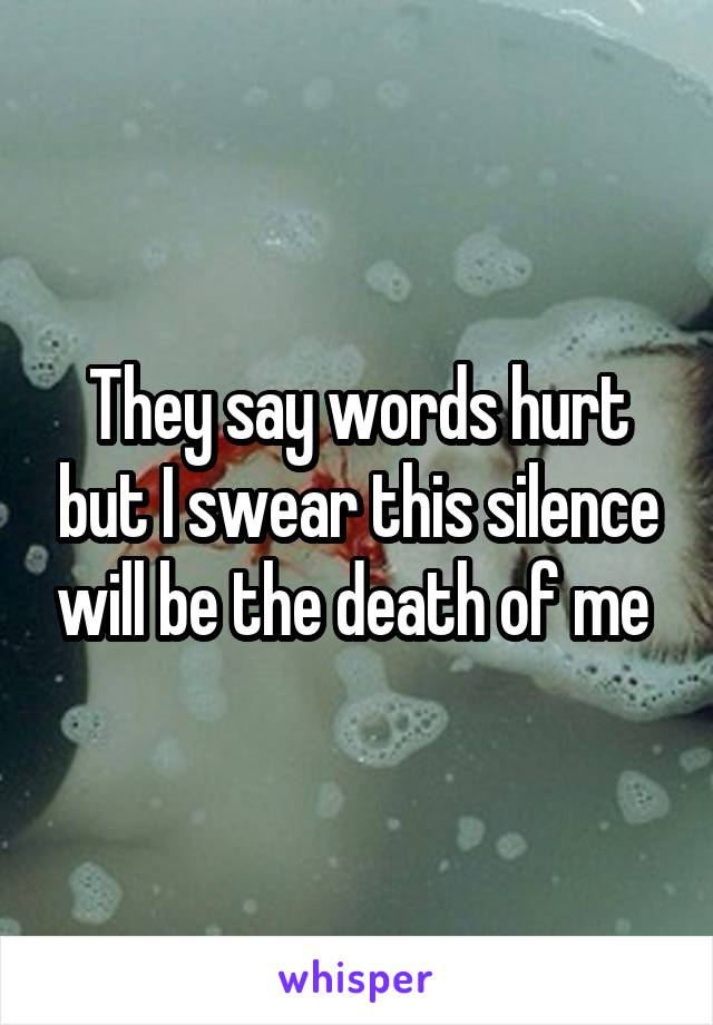 They say words hurt but I swear this silence will be the death of me