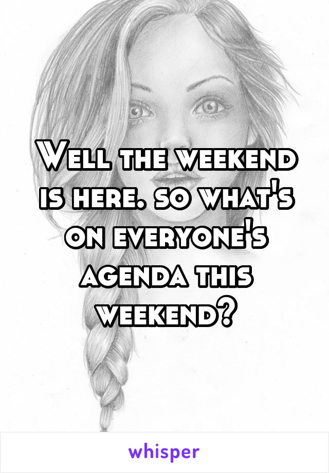 Well the weekend is here. so what's on everyone's agenda this weekend?