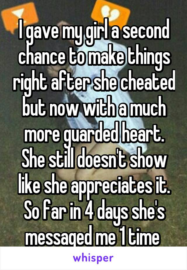 I gave my girl a second chance to make things right after she cheated but now with a much more guarded heart. She still doesn't show like she appreciates it. So far in 4 days she's messaged me 1 time