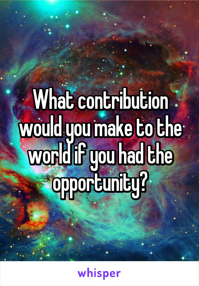 What contribution would you make to the world if you had the opportunity?