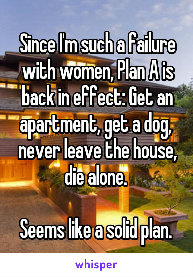 Since I'm such a failure with women, Plan A is back in effect: Get an apartment, get a dog,  never leave the house, die alone.   Seems like a solid plan.