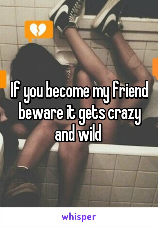 If you become my friend beware it gets crazy and wild