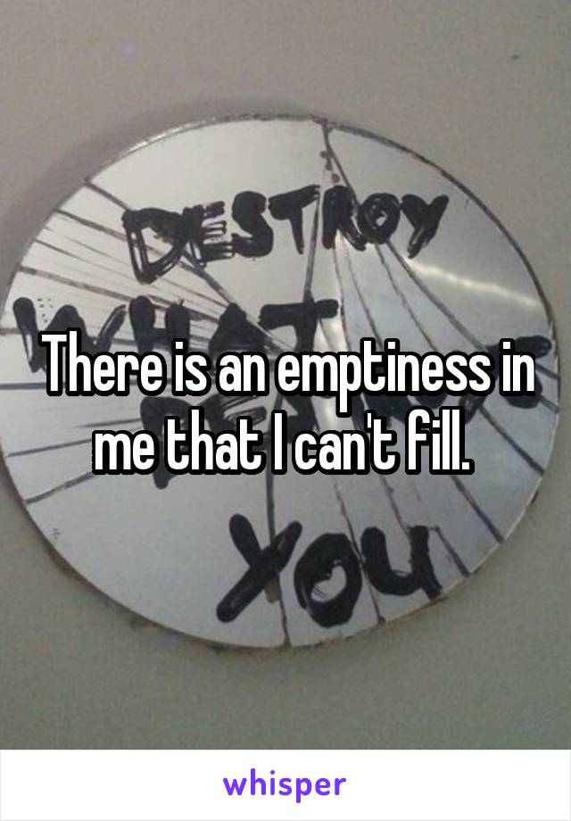 There is an emptiness in me that I can't fill.