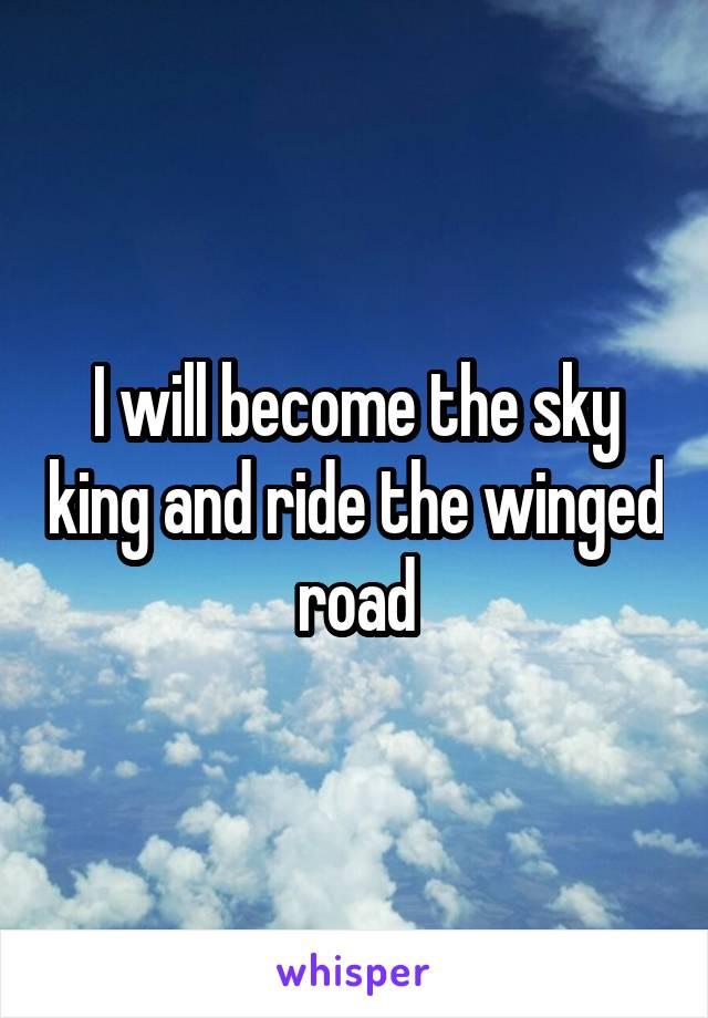 I will become the sky king and ride the winged road