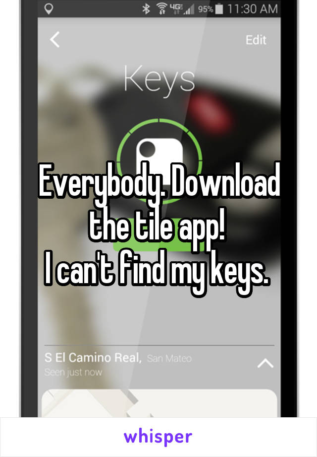 Everybody. Download the tile app!  I can't find my keys.