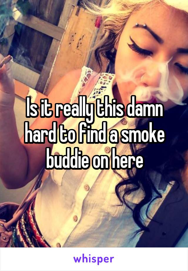 Is it really this damn hard to find a smoke buddie on here