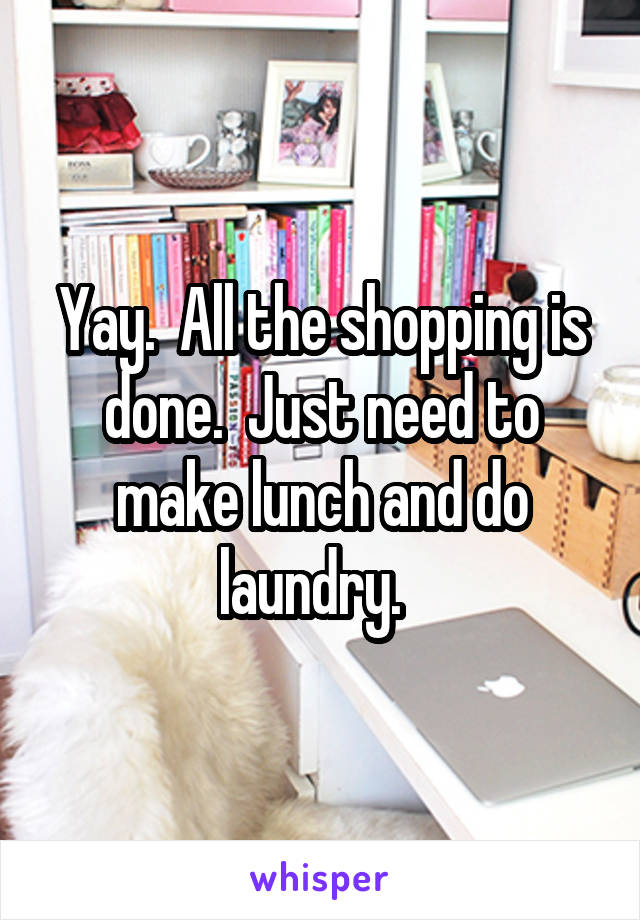 Yay.  All the shopping is done.  Just need to make lunch and do laundry.