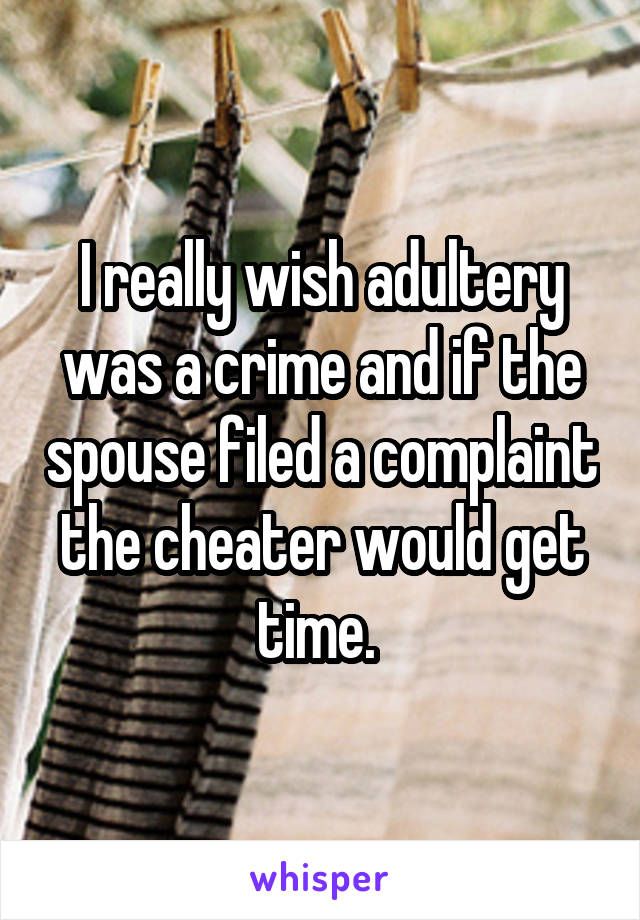 I really wish adultery was a crime and if the spouse filed a complaint the cheater would get time.