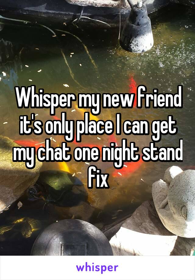 Whisper my new friend it's only place I can get my chat one night stand fix