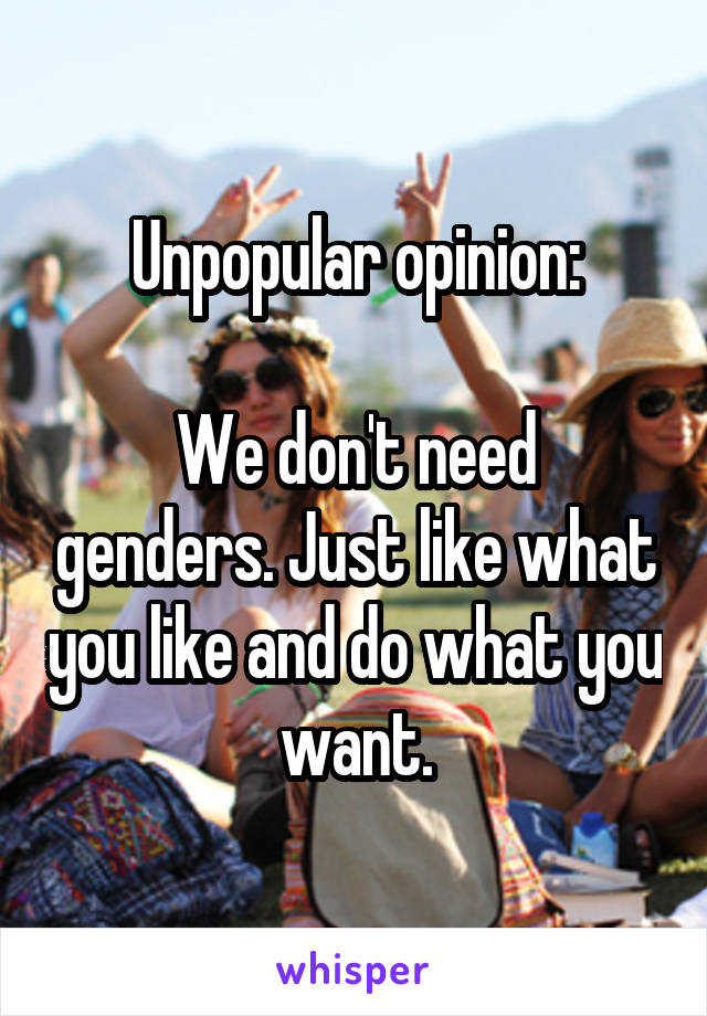 Unpopular opinion:  We don't need genders. Just like what you like and do what you want.