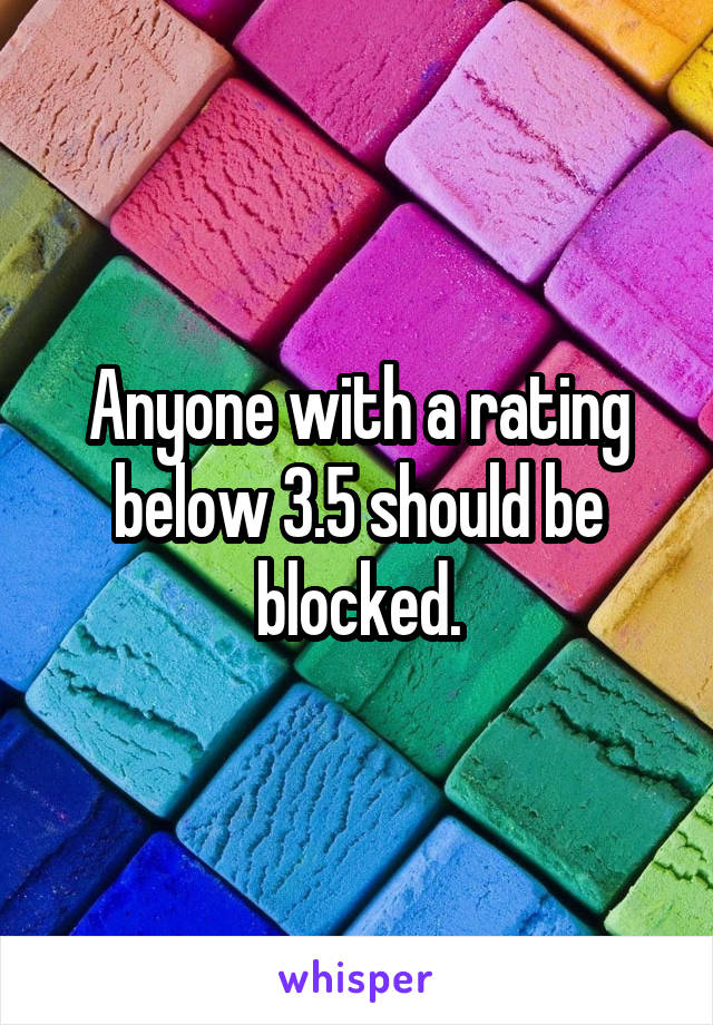 Anyone with a rating below 3.5 should be blocked.