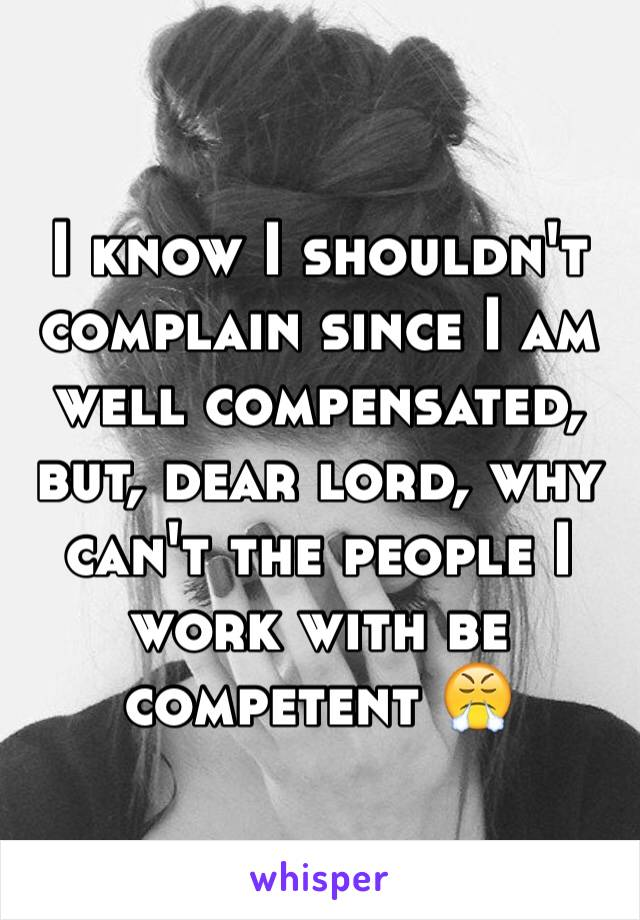 I know I shouldn't complain since I am well compensated, but, dear lord, why can't the people I work with be competent 😤