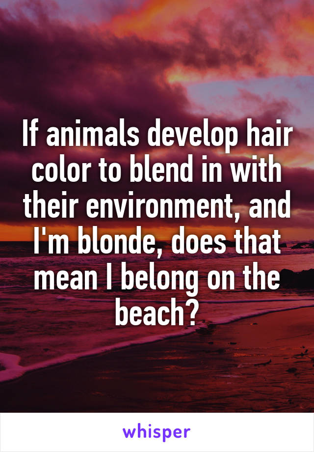 If animals develop hair color to blend in with their environment, and I'm blonde, does that mean I belong on the beach?