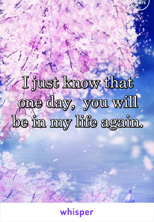 I just know that one day,  you will be in my life again.
