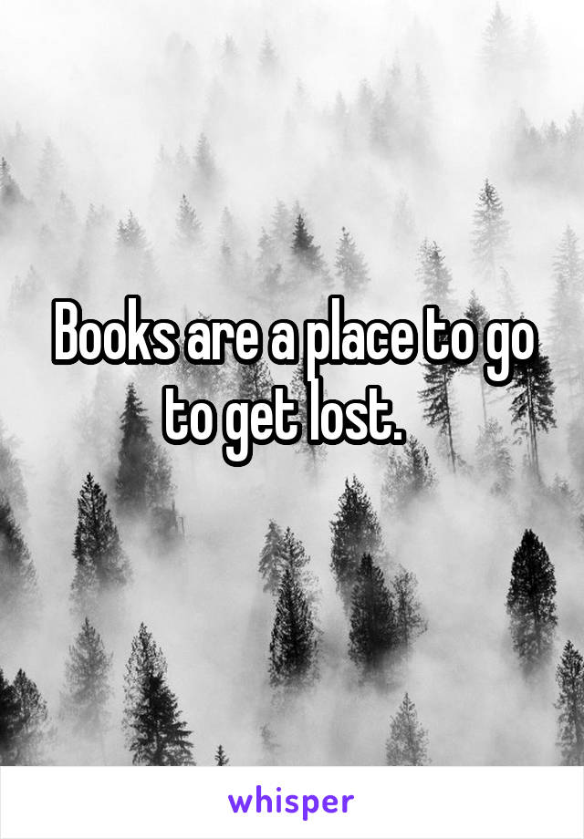 Books are a place to go to get lost.