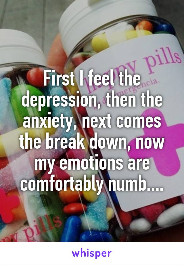First I feel the depression, then the anxiety, next comes the break down, now my emotions are comfortably numb....
