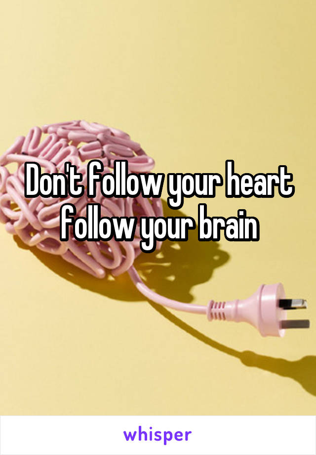 Don't follow your heart follow your brain