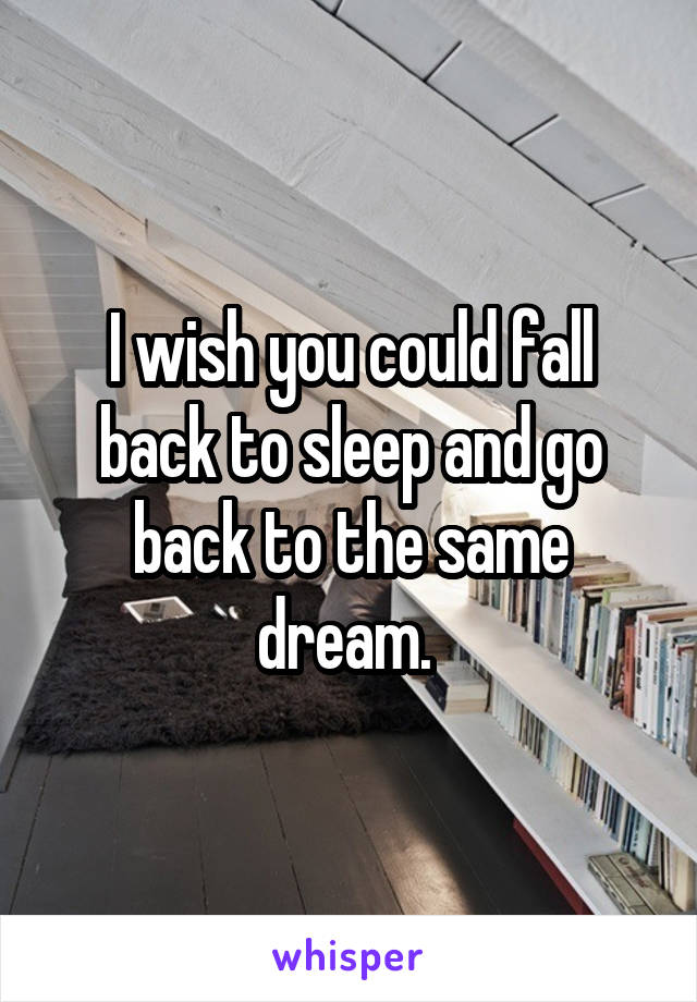 I wish you could fall back to sleep and go back to the same dream.