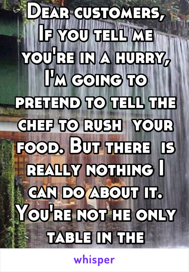 Dear customers, If you tell me you're in a hurry, I'm going to pretend to tell the chef to rush  your food. But there  is really nothing I can do about it. You're not he only table in the restaurant