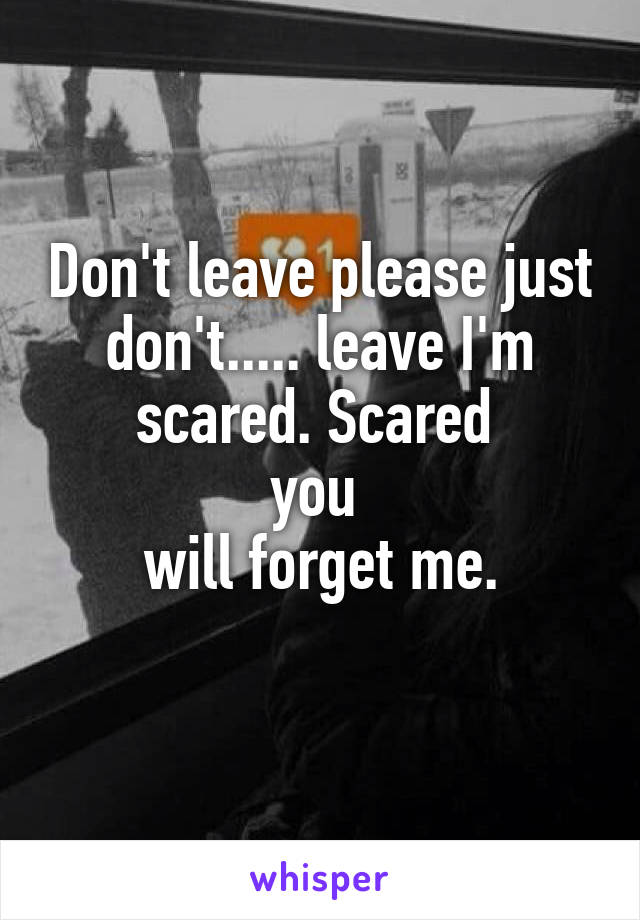 Don't leave please just don't..... leave I'm scared. Scared  you  will forget me.