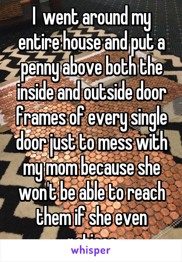 I  went around my entire house and put a penny above both the inside and outside door frames of every single door just to mess with my mom because she won't be able to reach them if she even notices
