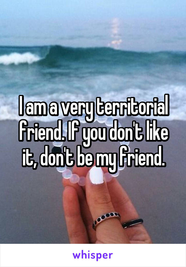 I am a very territorial friend. If you don't like it, don't be my friend.