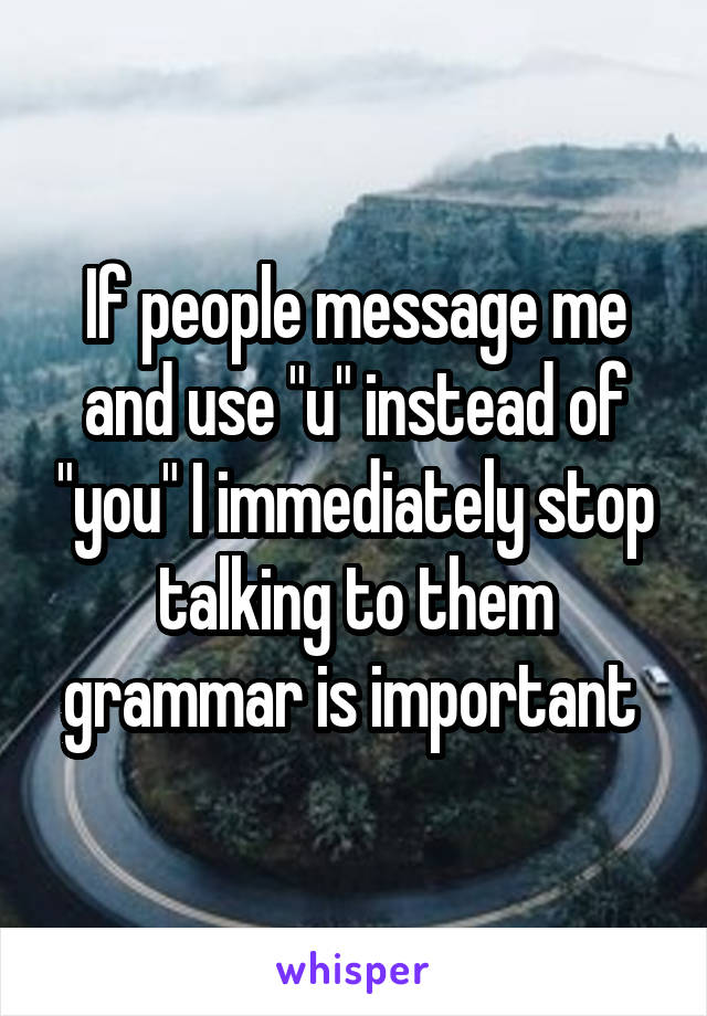 """If people message me and use """"u"""" instead of """"you"""" I immediately stop talking to them grammar is important"""