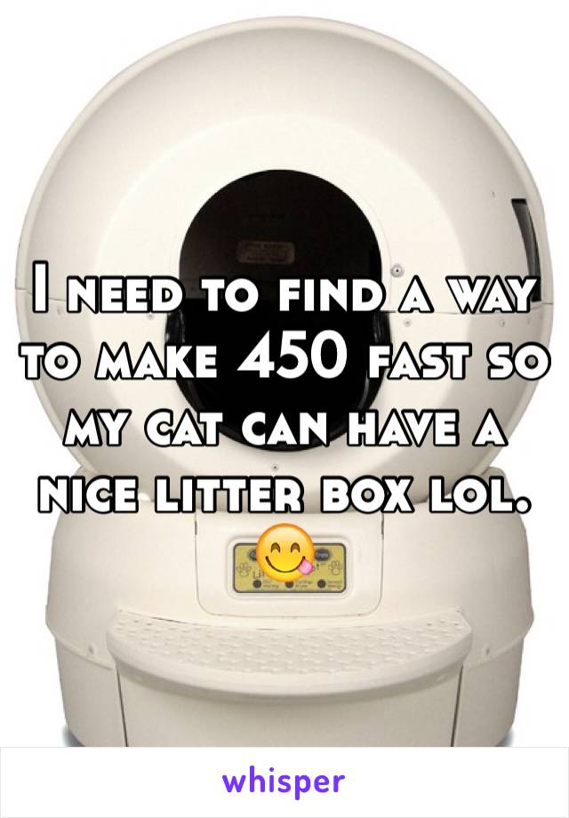 I need to find a way to make 450 fast so my cat can have a nice litter box lol. 😋