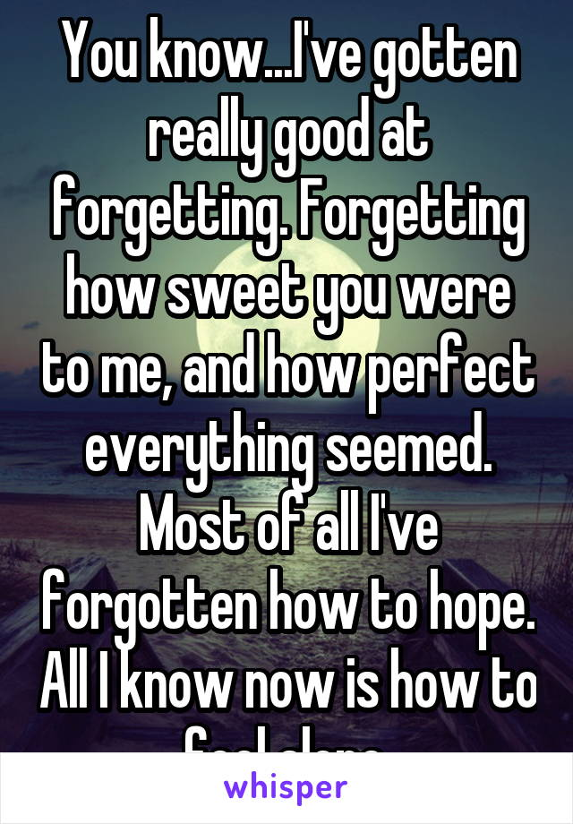 You know...I've gotten really good at forgetting. Forgetting how sweet you were to me, and how perfect everything seemed. Most of all I've forgotten how to hope. All I know now is how to feel alone.