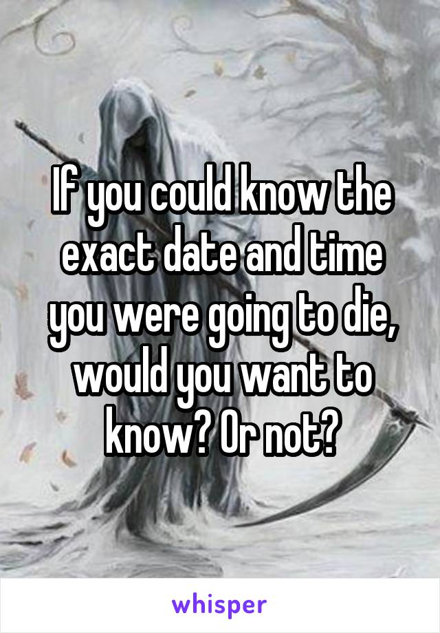 If you could know the exact date and time you were going to die, would you want to know? Or not?