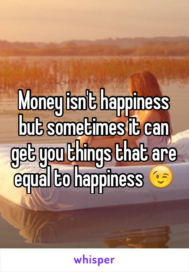 Money isn't happiness but sometimes it can get you things that are equal to happiness 😉