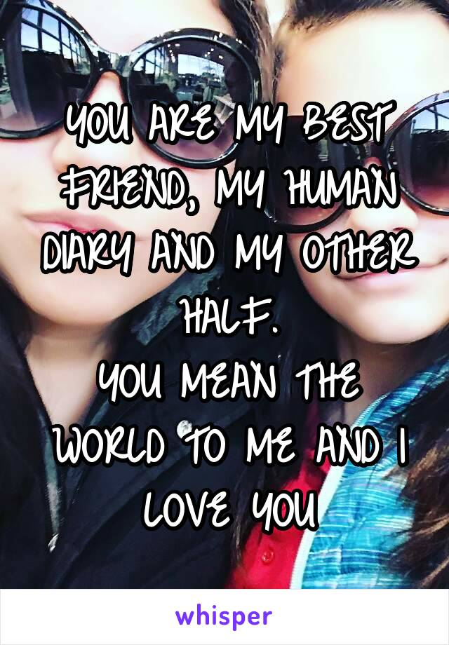YOU ARE MY BEST FRIEND, MY HUMAN DIARY AND MY OTHER HALF. YOU MEAN THE WORLD TO ME AND I LOVE YOU