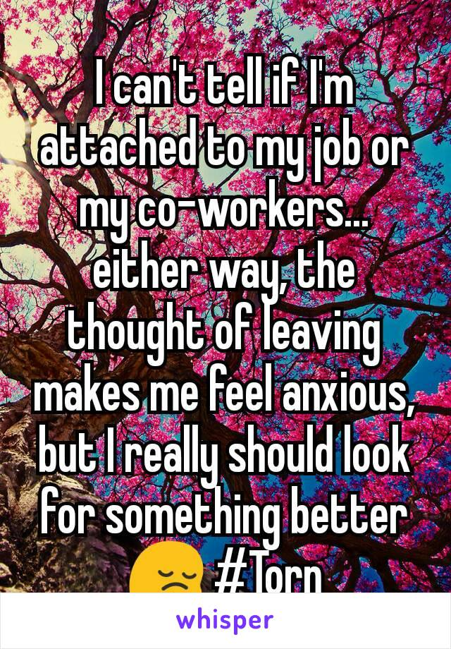 I can't tell if I'm attached to my job or my co-workers... either way, the thought of leaving makes me feel anxious, but I really should look for something better 😔 #Torn