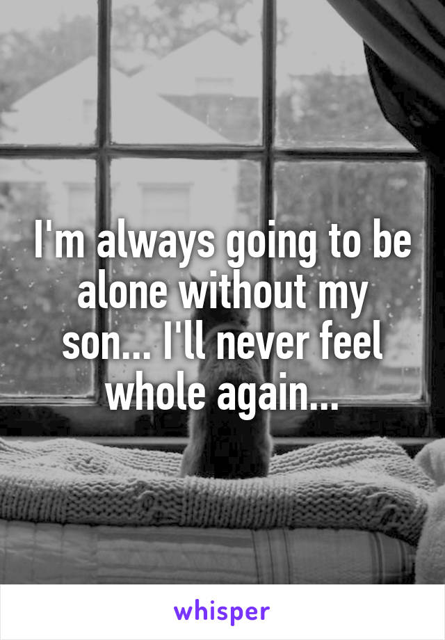I'm always going to be alone without my son... I'll never feel whole again...