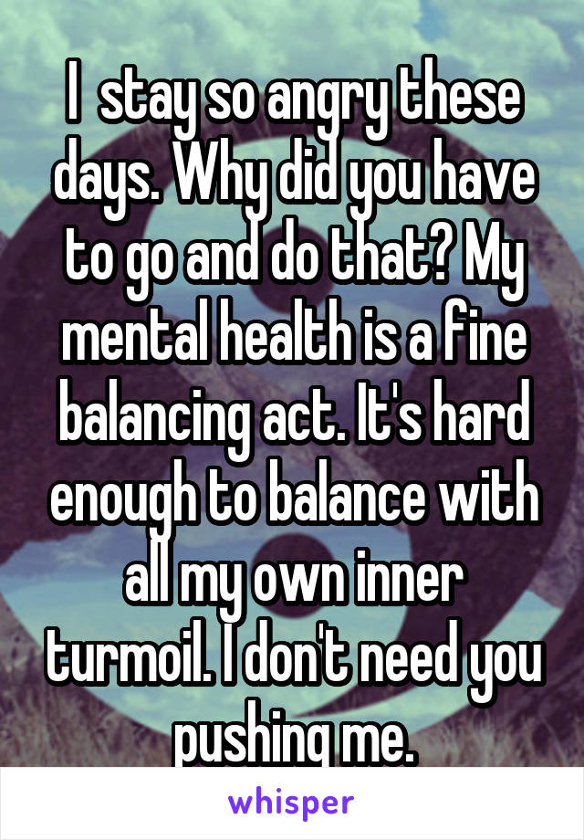 I  stay so angry these days. Why did you have to go and do that? My mental health is a fine balancing act. It's hard enough to balance with all my own inner turmoil. I don't need you pushing me.