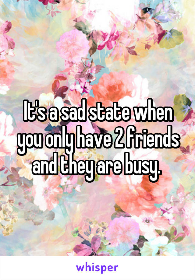 It's a sad state when you only have 2 friends and they are busy.