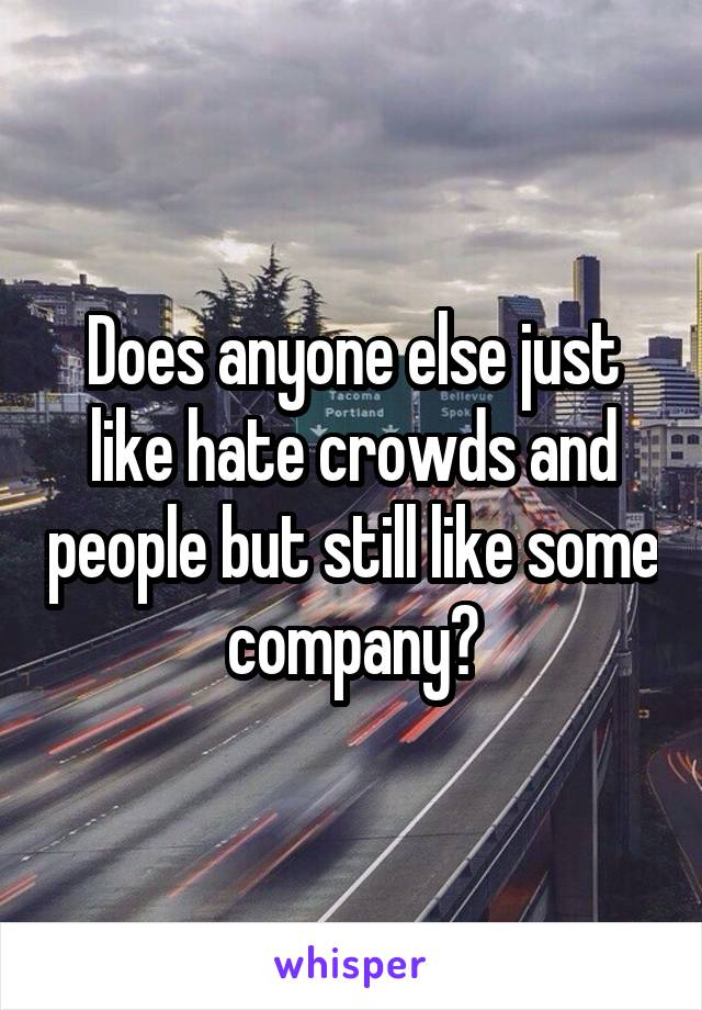 Does anyone else just like hate crowds and people but still like some company?