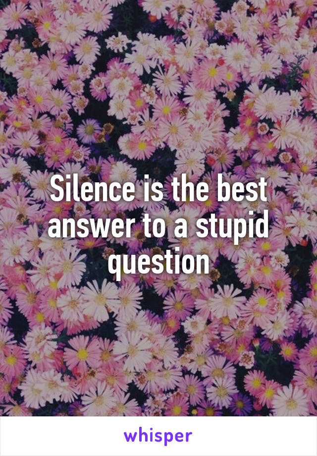 Silence is the best answer to a stupid question